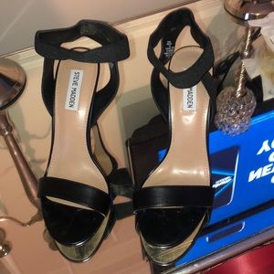 Steve Madden Black Open Toed Heels! Worn Once! 9!